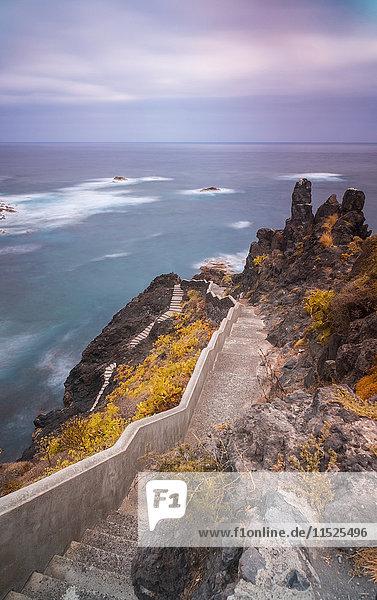 Spanien  Teneriffa  Treppe an der Steilküste Spanien, Teneriffa, Treppe an der Steilküste