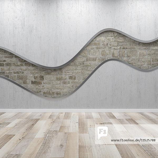 Betonwand mit Wellenstruktur  3D-Putz