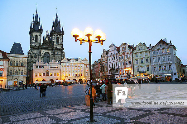 Czechia  Prague  Old Town Square with Church of Our Lady Before Tyn and row of historical houses at blue hour