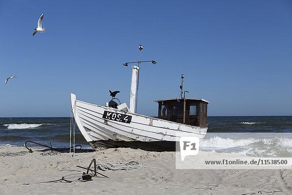 Deutschland  Mecklenburg-Vorpommern  Fischerboot am Strand