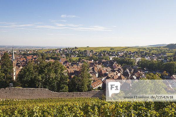 Frankreich  Elsass  Elsässische Weinstraße  Historisches Dorf Ribeauville  Weinberge  Herbst  Spätsommer