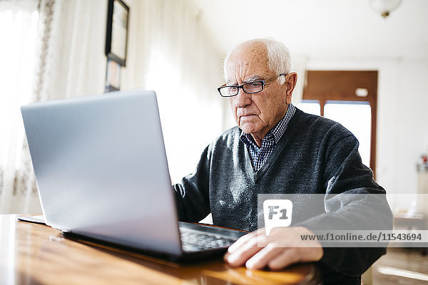 Portrait of serious looking senior man using laptop at home