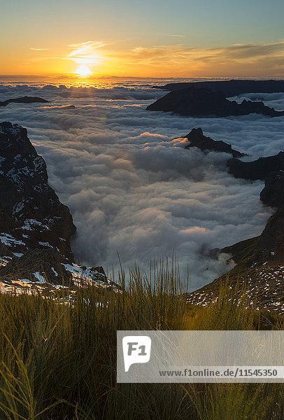 Portugal  Madeira  Abendsonne am Pico do Arieiro
