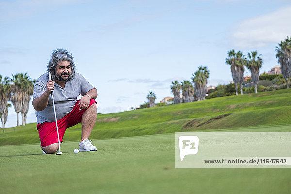 Spanien  Teneriffa  Golfspieler an der Costa Adeje