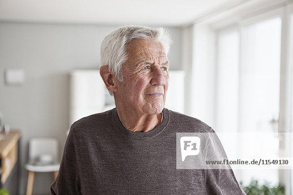 Porträt eines nachdenklichen älteren Mannes zu Hause