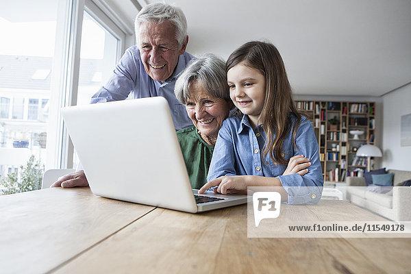Großeltern und ihre Enkelin mit Laptop zu Hause