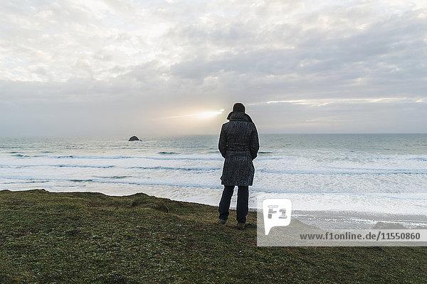 France  Bretagne  Finistere  Crozon peninsula  woman standing at the coast