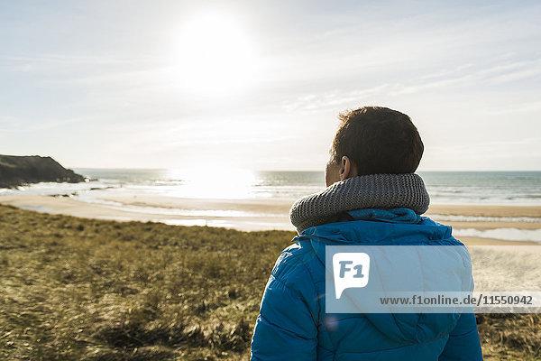 France  Bretagne  Finistere  Crozon peninsula  woman at the coast looking at view
