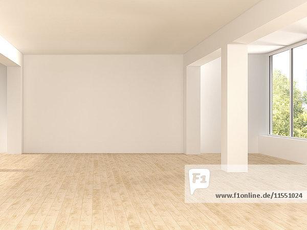 Leerer  geräumiger Raum mit Holzboden  3D-Rendering