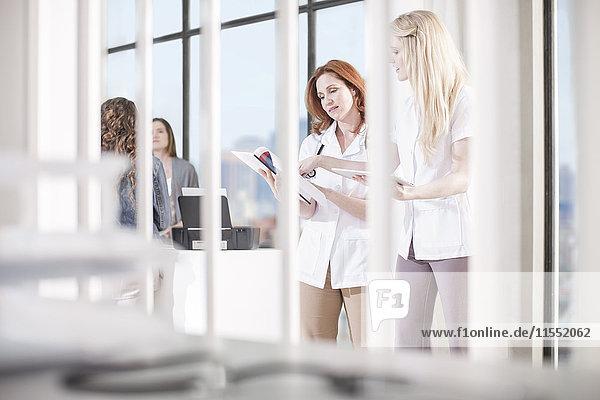 Frauen im Büro beim Betrachten von Dokumenten
