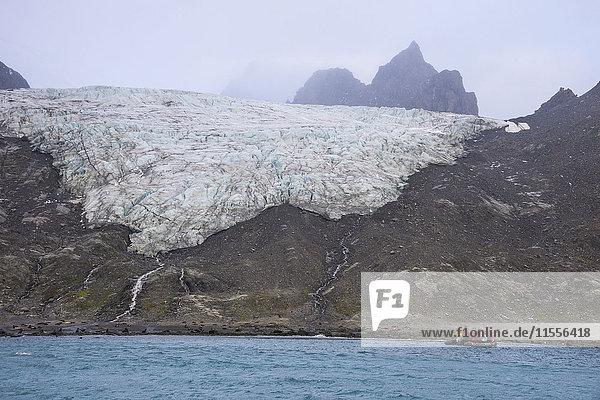Tourists on a zodiac watching a glacier on Elephant Island  South Shetland Islands  Antarctica  Polar Regions