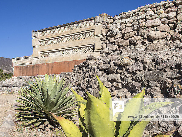 Pre-Columbian Mixtec and Zapotec ruins in the town of Mitla  State of Oaxaca  Mexico  North America