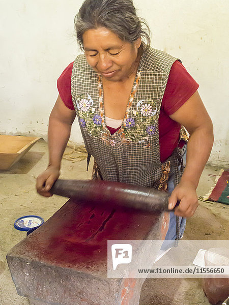 Zapotec woman grinding insects to make valuable cochineal dye  Teotitlan del Valle  Oaxaca  Mexico  North America