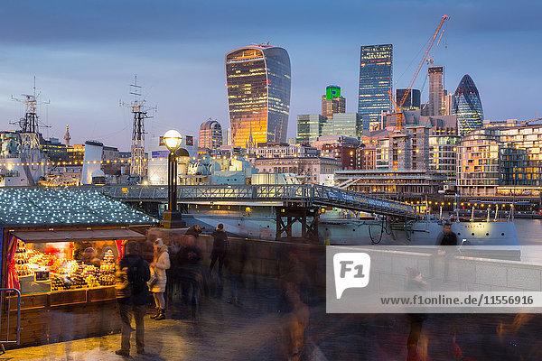 Christmas Market  The Scoop and The City of London skyline  South Bank  London  England  United Kingdom  Europe
