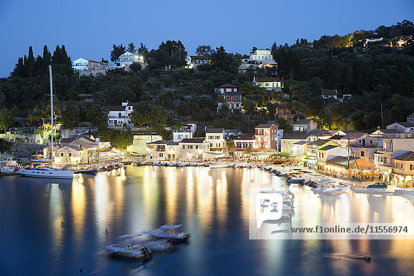 View over harbour at night  Loggos  Paxos  Ionian Islands  Greek Islands  Greece  Europe