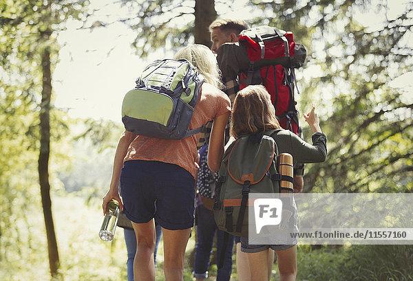 Familie mit Rucksackwandern in sonnigen Wäldern