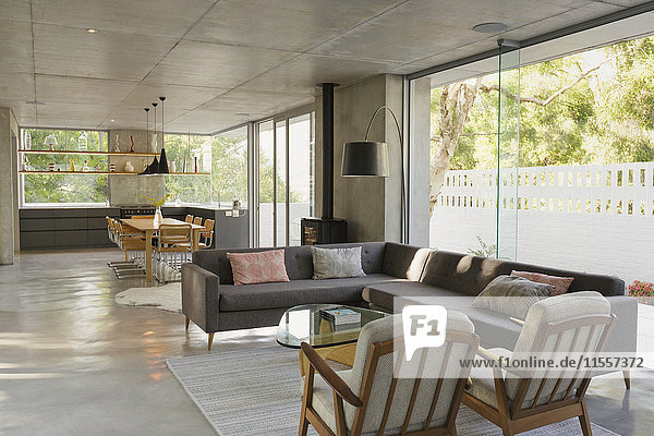 Luxury  modern home showcase interior living room and dining room open plan