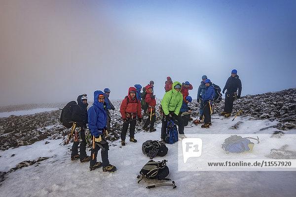 UK  Scotland  Ben Nevis  mountaineers on summit