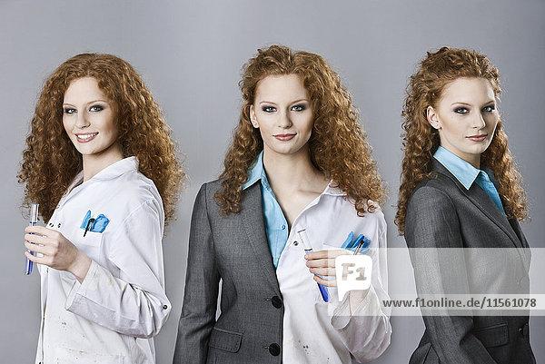 Tryptich der gleichen Frau in Rollen als Chemikerin  Kauffrau und beide