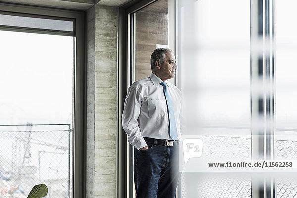 Senior Manager im Büro stehend am Fenster