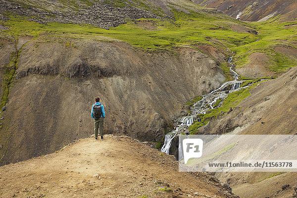 Island  Sudurland  Hveragerdi  Reykjadalur  Tourist mit Blick auf Bach und Wasserfälle im felsigen Tal