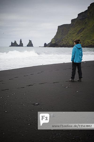Island  Sudurland  Vik i Myrdal  Wanderer am schwarzen Sandstrand zu Füßen der Steilküste