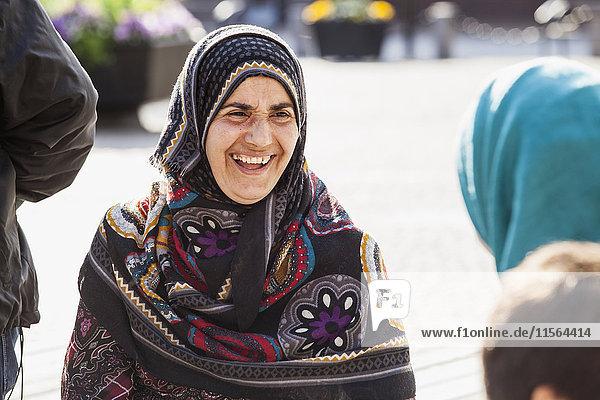 Sweden  Bleking  Solvesborg Portrait of woman wearing headscarf