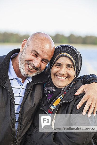 Sweden  Bleking  Solvesborg  Portrait of woman and man smiling