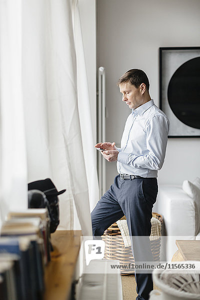 Deutschland  Mann schaut sich Handy am Fenster an