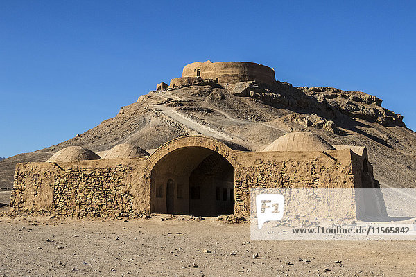 'Small adobe structure by the Zoroastrian Towers of Silence; Yazd  Iran'