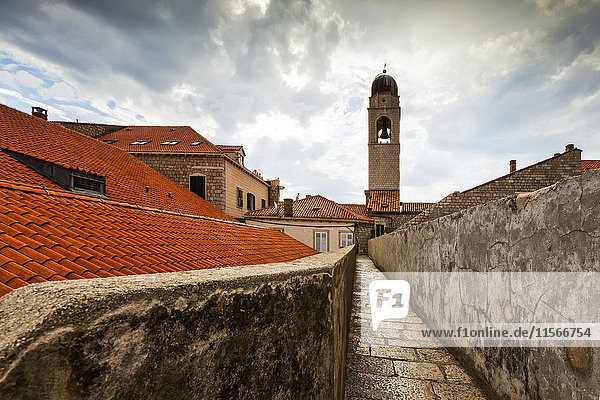 'City walls and tower of the Franciscan Monastery; Dubrovnik  Croatia'