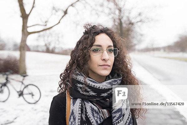 Woman on a winter walk