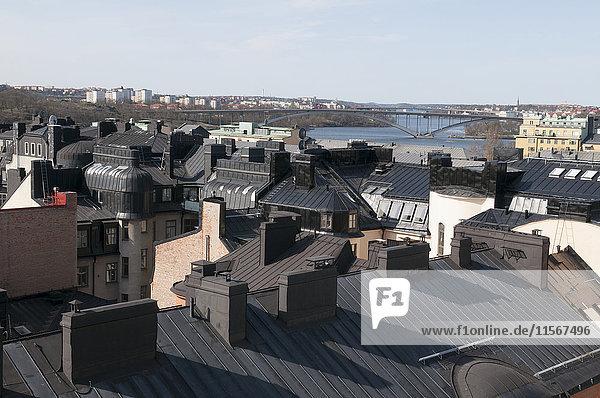 Roofs of Kungsholmen buildings  Stockholm  Sweden