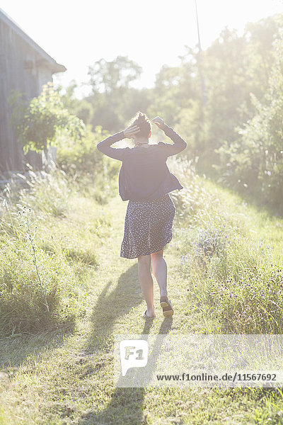 Girl walking  rear view