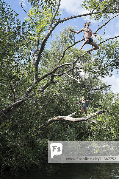 Teenage girl jumping from tree