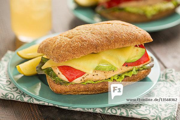 Fresh sandwich on plate