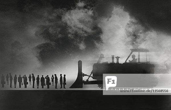 Bulldozer nähert sich einer Reihe Geschäftsleute