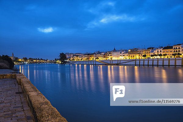 Spain  Seville  Triana  Guadalquivir river at dusk