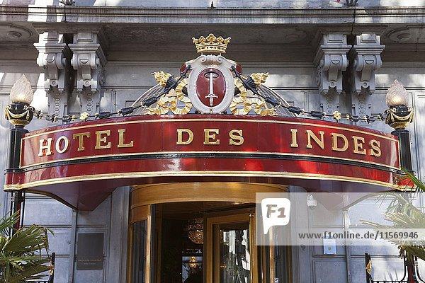 Eingang  Schriftzug Hotel Des Indes  Luxushotel  Den Haag  Holland  Niederlande  Europa