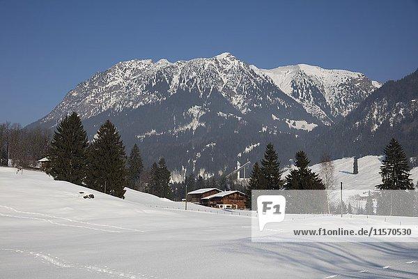 Nebelhorn im Winter  in der Nähe von Oberstdorf  Allgäuer Alpen  Allgäu  Bayern  Deutschland  Europa