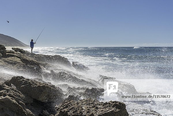 Angler steht an Felsküste bei starker Brandung  iSimangaliso-Wetland-Park  KwaZulu-Natal  Südafrika