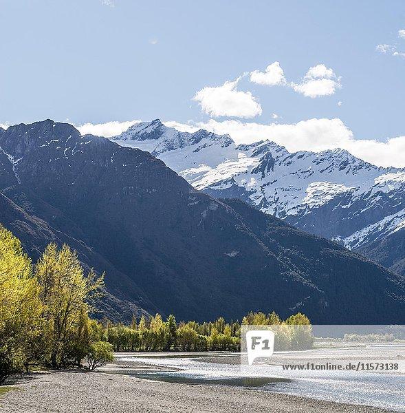 Matukituki Fluss  schneebedeckter Mount Aspiring  Mount Aspiring National Park  Otago  Südinsel  Neuseeland  Ozeanien