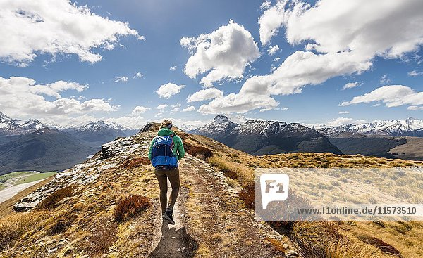 Hiker on a hiking trail  Mount Alfred  Glenorchy at Queenstown  Southern Alps  Otago  Southland  New Zealand  Oceania