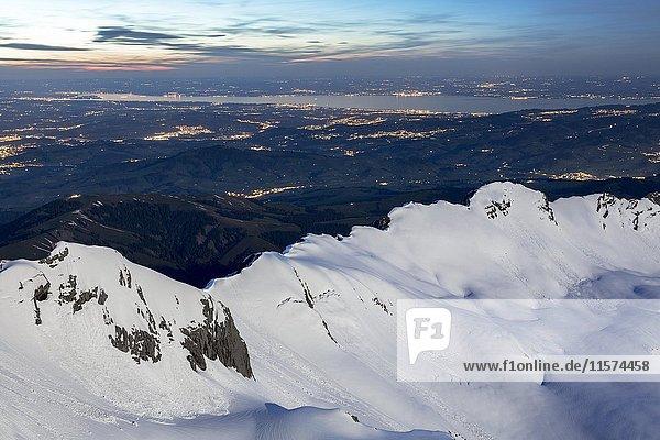 Abendlicht  Bergblick vom Säntis  Appenzell  Schweiz  Europa