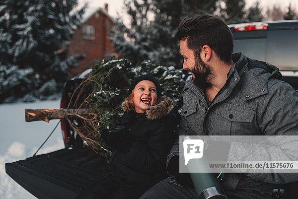 Vater und Tochter auf dem Rücksitz eines Pick-up mit ihrem Weihnachtsbaum