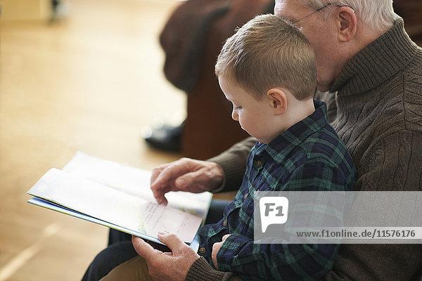 Junge sitzt auf Großvaters Schoß und liest Buch