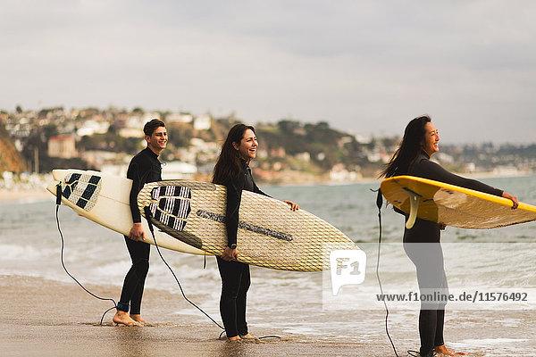 Drei Freunde stehen im Meer  halten Surfbretter in der Hand und bereiten sich auf das Surfen vor