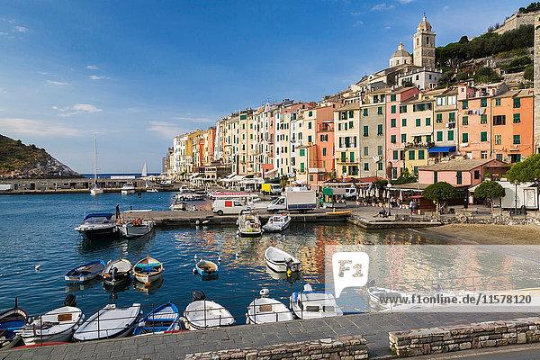 Harbour and colourful apartment building facades  Portovenere  La Spezia  Italy