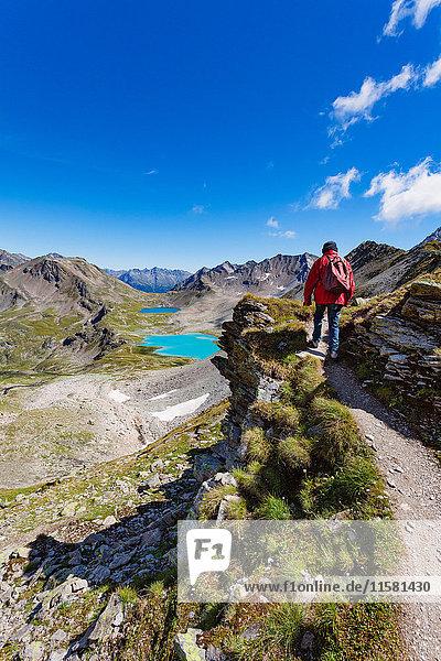 Wanderer  Davos  Graubünden  Schweiz