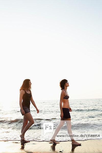 Frauen gehen gemeinsam am Strand spazieren